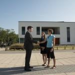 Principal meets student and parent